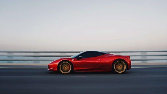 red car high speed panning
